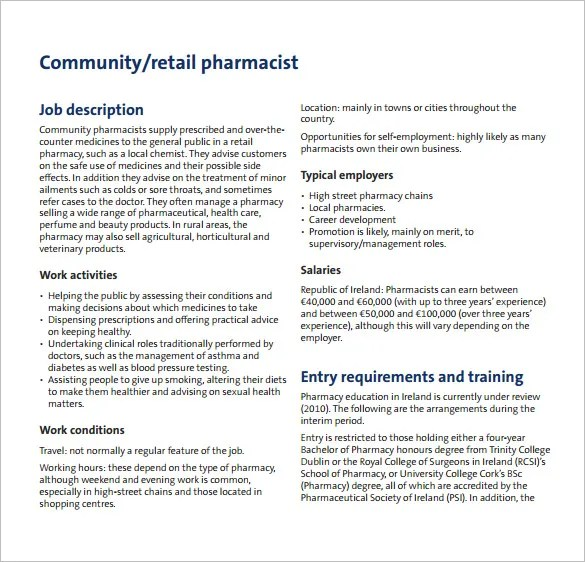 Pharmacist Job Description Template \u2013 10+ Free Word, PDF Format - pharmacist job description