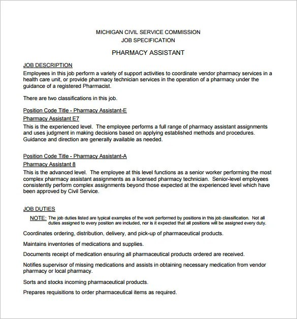 Pharmacist Job Description Template \u2013 10+ Free Word, PDF Format