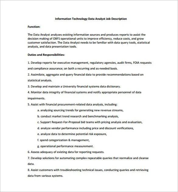 Data Analyst Job Description Template \u2013 10+ Free Word, PDF Format - analyst job description