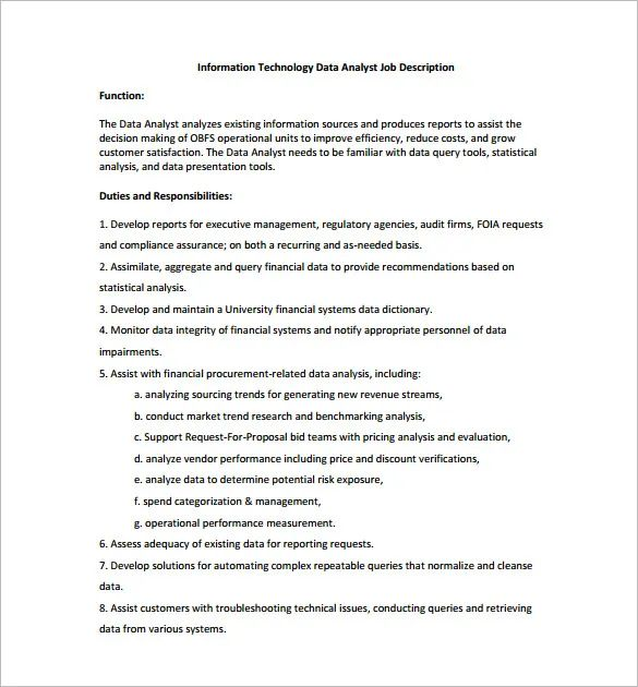 database analyst job description