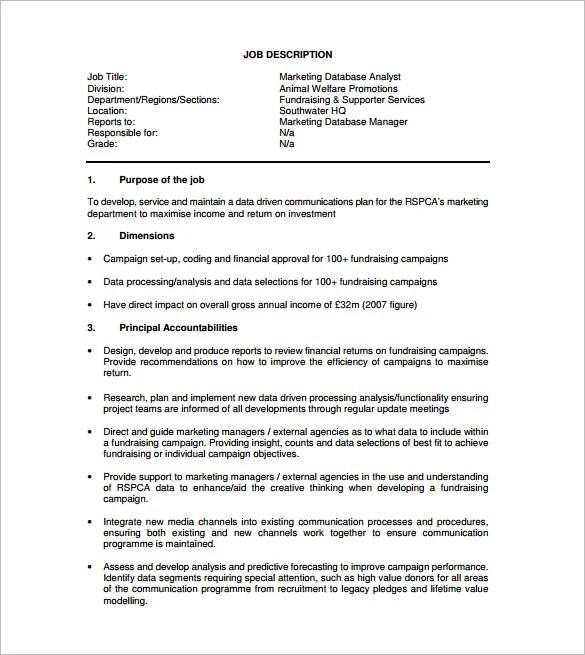 Data Analyst Job Description Template - 9+ Free Word, PDF Format - Marketing Database Analyst Sample Resume