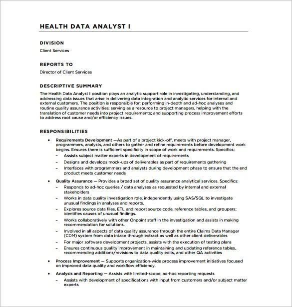 resume template of business analyst data analyst job description sample
