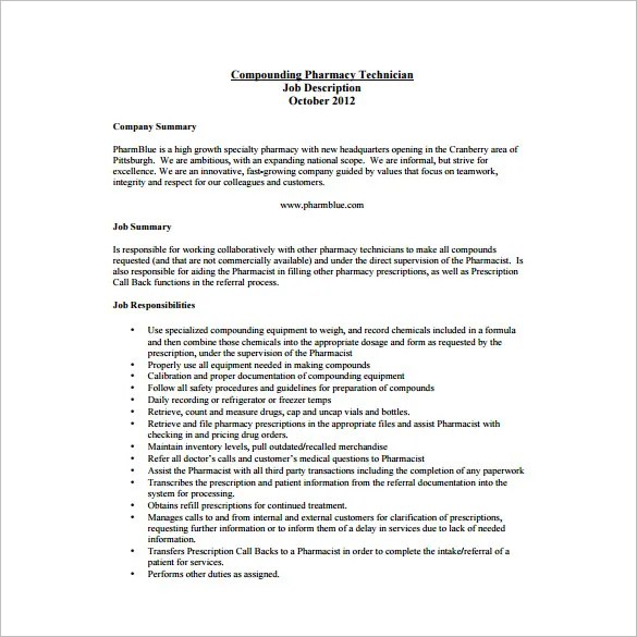 Pharmacy Technician Job Description Template \u2013 8+ Free Word, PDF - pharmacist job description