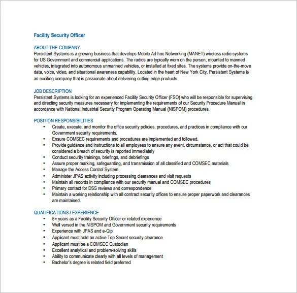 security officer job description samples - Onwebioinnovate