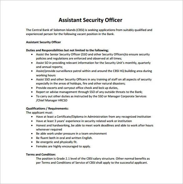 Security Officer Job Description Template - 12+ Free Word, PDF