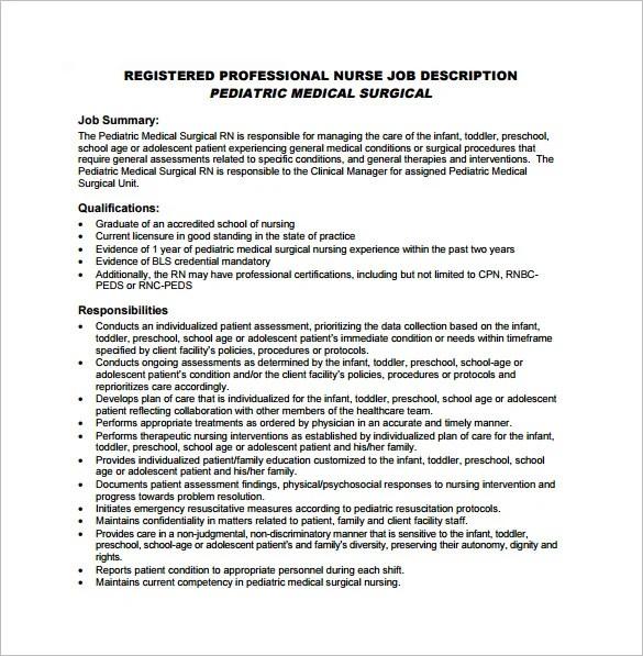 Registered Nurse Job Description Template \u2013 9+ Free Word, PDF Format - nurse job description