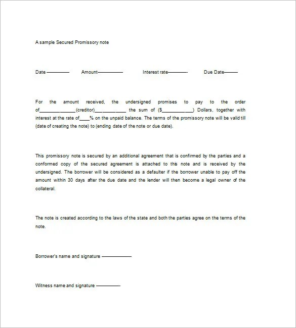 Secured Promissory Note Templates \u2013 9+ Free Word, Excel, PDF Format - free sample promissory note