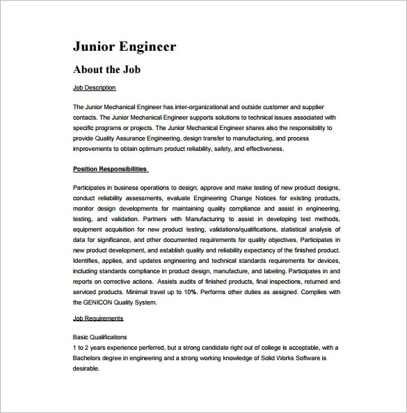 Mechanical Engineering Job Description Template u2013 9+ Free Word,PDF - manufacturing engineer job description