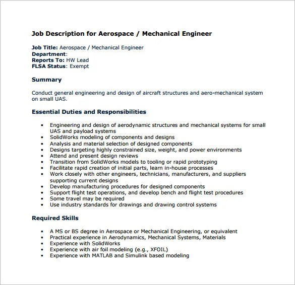 Mechanical Engineering Job Description Template \u2013 9+ Free Word,PDF