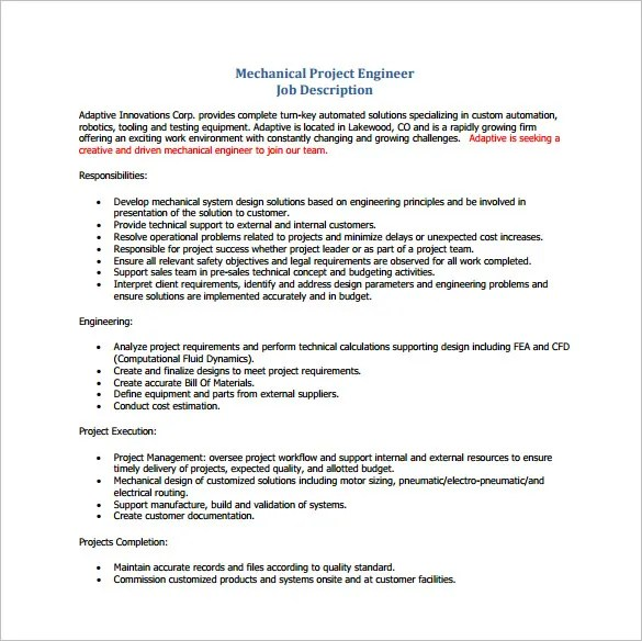 project engineer mechanical job description - Ozilalmanoof