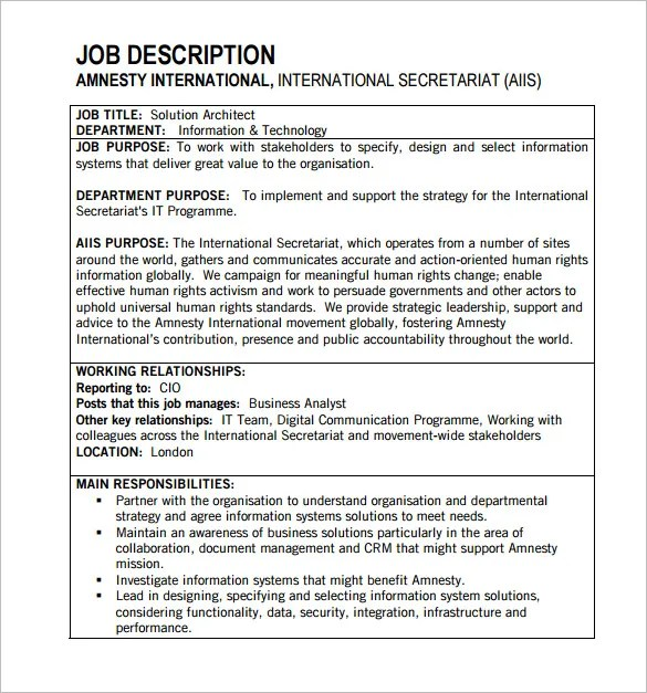 Architect Job Description Template \u2013 10+ Free Word, PDF Format - job duty template