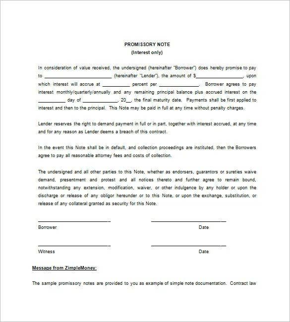 7+ Blank Promissory Note - Free Sample, Example, Format Download - Blank Promissory Notes