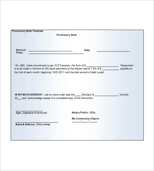 8+ Blank Promissory Note \u2013 Free Sample, Example, Format Download - free printable promissory note template