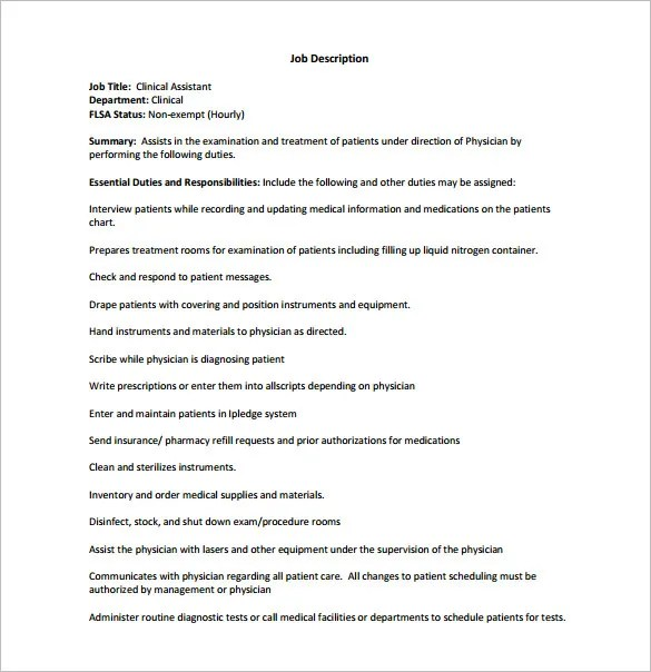 physician assistant job description template - Ozilalmanoof - Physician Assistant Job Description