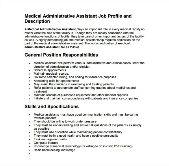 9+ Medical Assistant Job Description Templates \u2013 Free Sample - medical records job description
