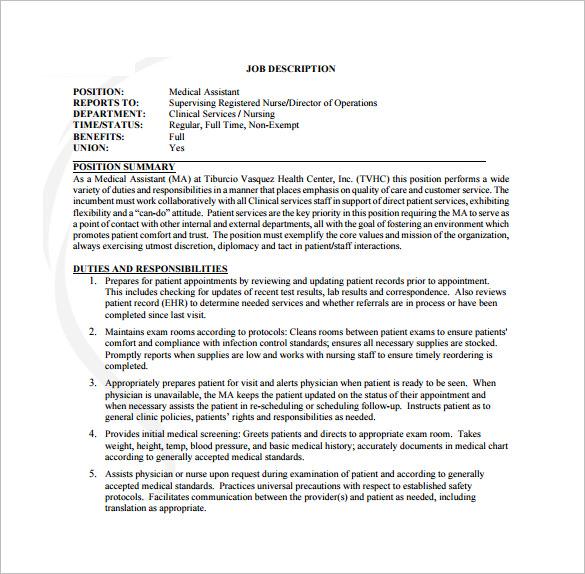 9+ Medical Assistant Job Description Templates \u2013 Free Sample