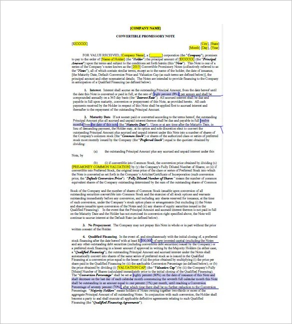 Convertible Promissory Note u2013 8+ Free Word, Excel, PDF Format - convertible note agreement template