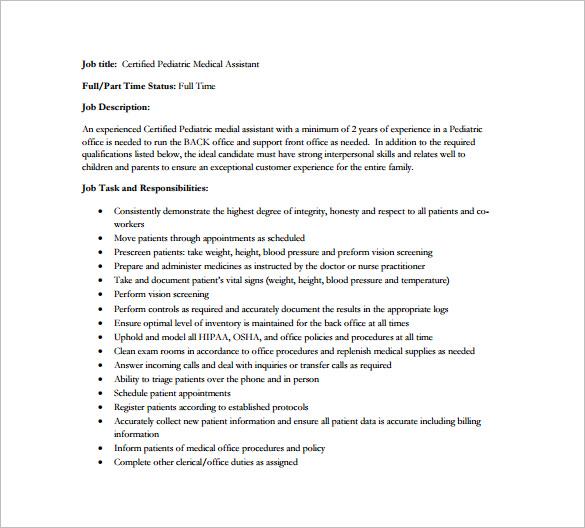 Medical Assistant Job Description Template - 9+ Free Word, Excel