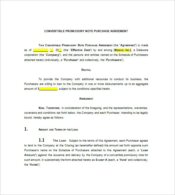 8+ Convertible Promissory Note u2013 Free Sample, Example, Format - convertible note agreement template