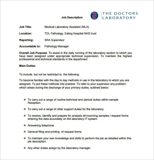 9+ Medical Assistant Job Description Templates \u2013 Free Sample - medical assistant job description