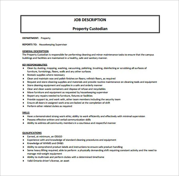 Custodian Job Description Template \u2013 9+ Free Word, PDF Format - Custodian Job Description