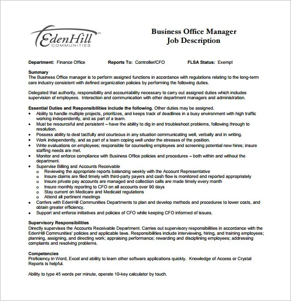 Office Manager Job Description Template - 9+ Free Word, PDF Format