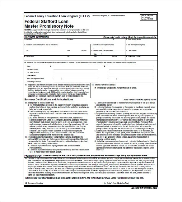 4+ Student Loan Promissory Note - Free Word, Excel, PDF Format