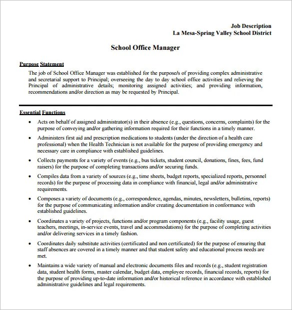 9+ Office Manager Job Description Templates - Free Sample, Example