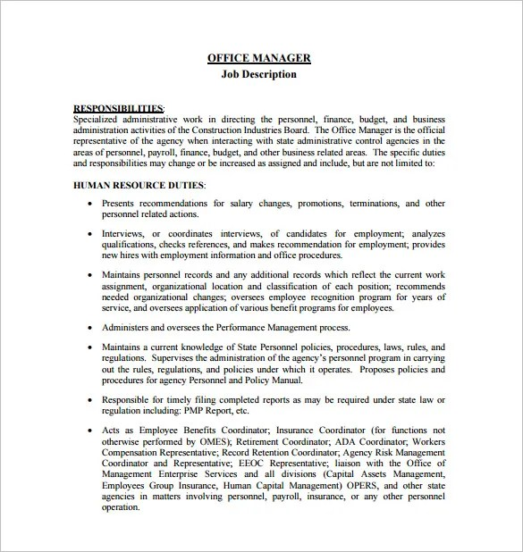 Project Manager Job Description Recentresumescom Project