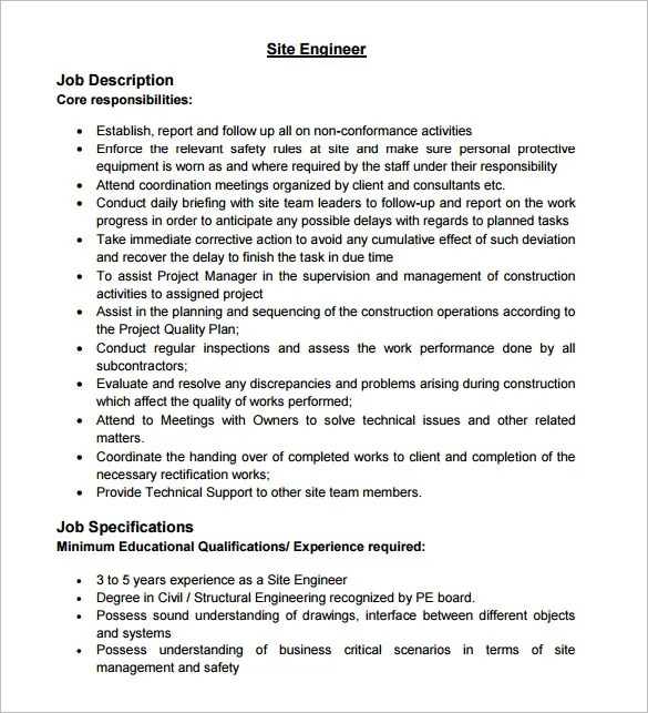 Civil Engineer Job Description Template \u2013 9+ Free Word, PDF Format
