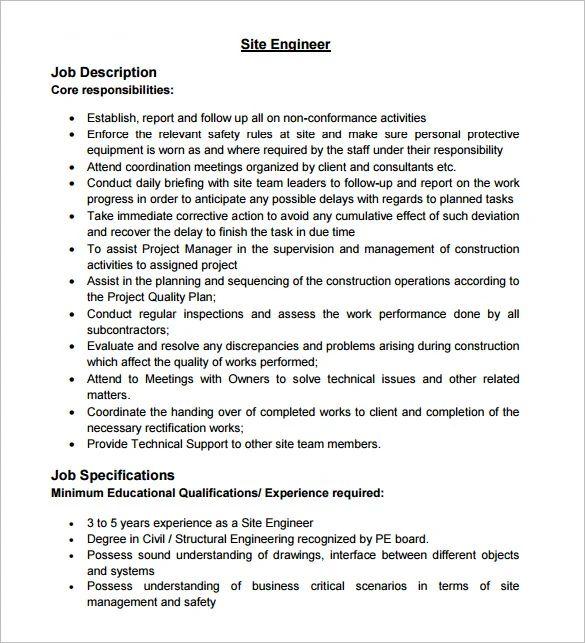 site engineer job description pdf
