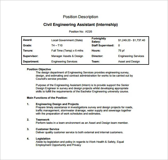 Civil Engineer Job Description Template \u2013 9+ Free Word, PDF Format