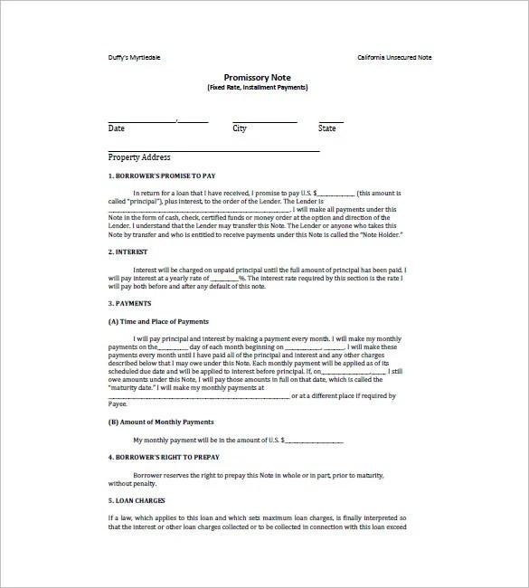 Loan Promissory Note \u2013 10+ Free Word, Excel, PDF Format Download