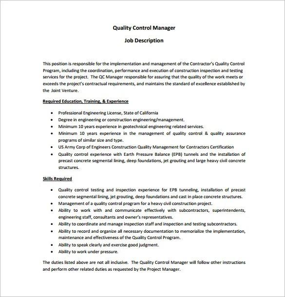 Civil Engineer Job Description Template \u2013 9+ Free Word, PDF Format - quality engineer job description