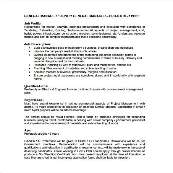 General Manager Job Description Template \u2013 9+ Free Word, PDF Format