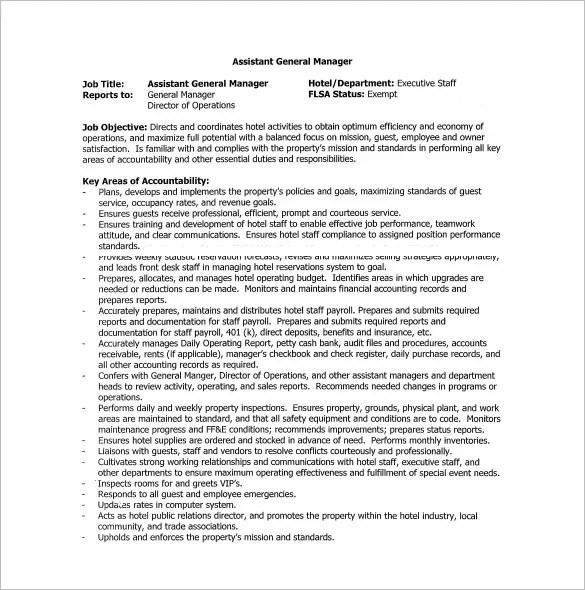 General Manager Job Description Template u2013 9+ Free Word, PDF - assistant manager job description