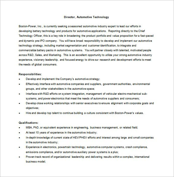 General Manager Job Description Template - 8+ Free Word, PDF Format - job description template word