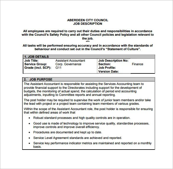 Detailed Job Description For Accountant  Lease Agreement Month To