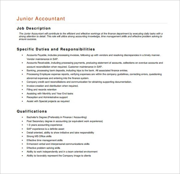 Accountant Job Description  EnvResumeCloud