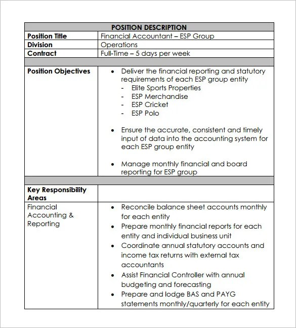 Accountant Job Description Template - 11+ Free Word, PDF Format - Accounting Job Titles