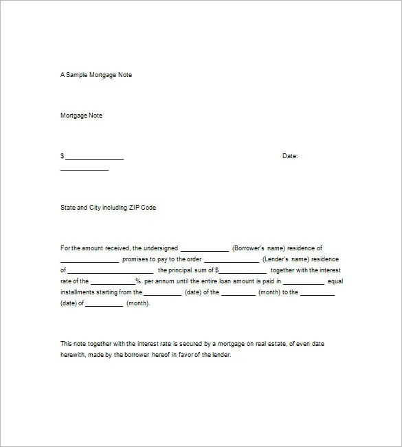 9+ Mortgage Promissory Note \u2013 Free Sample, Example, Format Download
