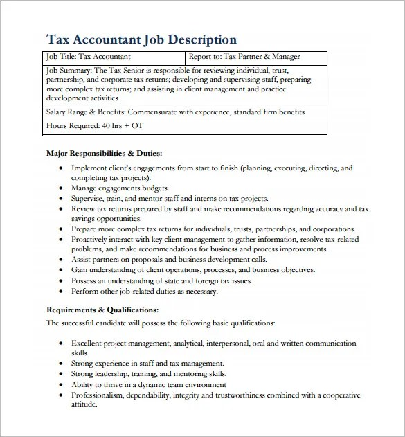 Accountant Job Description Template - 11+ Free Word, PDF Format - senior accountant job description