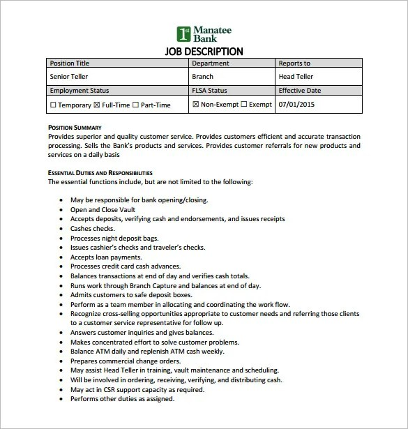 bank teller job description - Onwebioinnovate