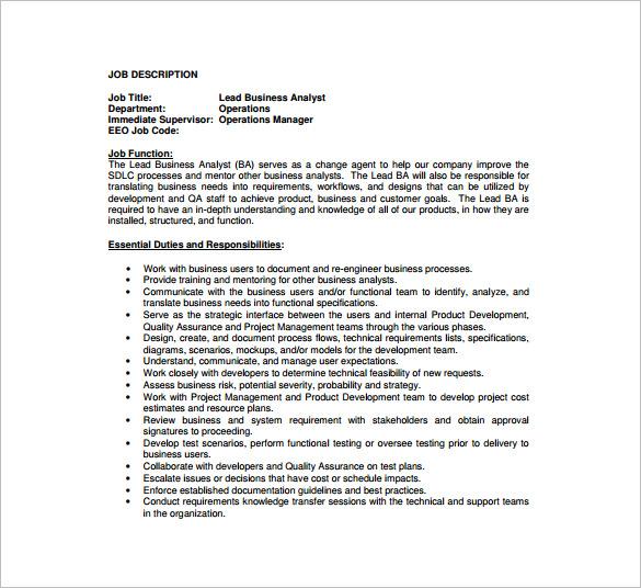 Business Analyst Job Description Template 10 Free Word Pdf Business Analyst  Job   Analyst Job Duties