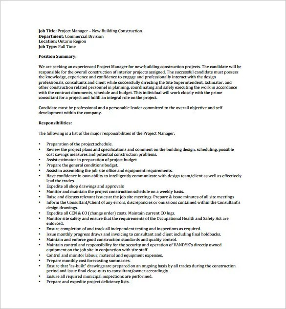 Job Description for a General Construction Superintendent - inducedinfo