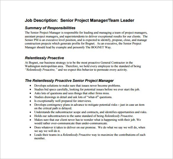 Project Manager Job Description Template - 10+ Free Word, PDF Format