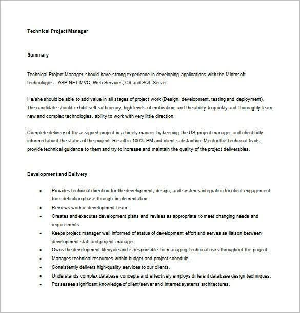 9+ Project Manager Job Description Templates Free  Premium Templates - it project manager job description