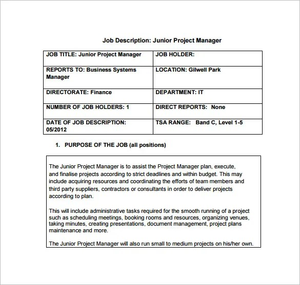 Project Manager Job Description Template - 10+ Free Word, PDF - job description templates