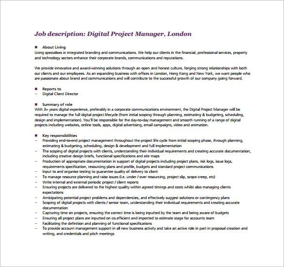 project manager job duties - Romeolandinez - management job description