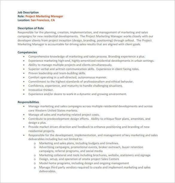 9+ Project Manager Job Description Templates Free  Premium Templates